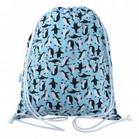Penguin Drawstring Backpack, PE Bag, Swim Bag