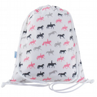 Horses Drawstring Backpack, PE Bag, Swim Bag
