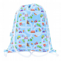 Cars, Trucks Drawstring Backpack, PE Bag, Swim Bag