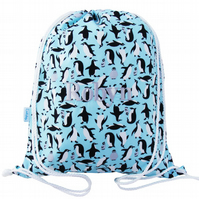 Personalised Swim Bag, PE Bag, Drawstring Backpack - Penguin