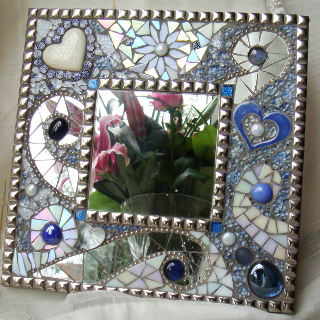 Mosaic Mirror 'Blue Ice'