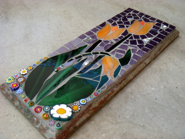 Mosaic Tulips Wall Plaque Panel MADE TO ORDER