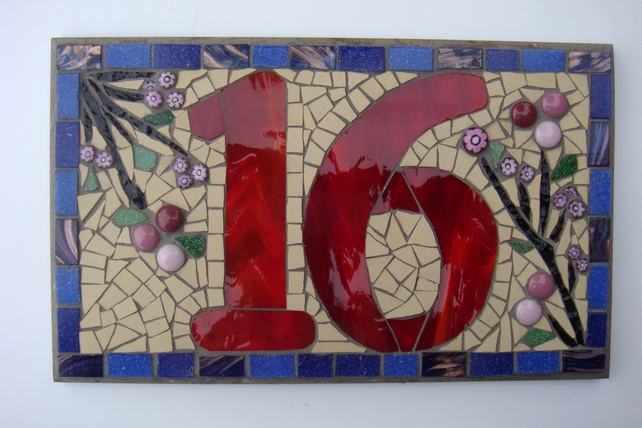 Custom Order Mosaic House Number Balance