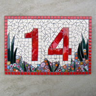 Custom Mosaic House Number Ornament Plaque Sign