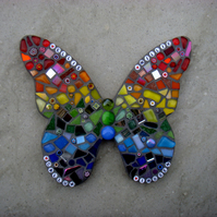 Personalised Rainbow Mosaic Butterfly Garden Ornament