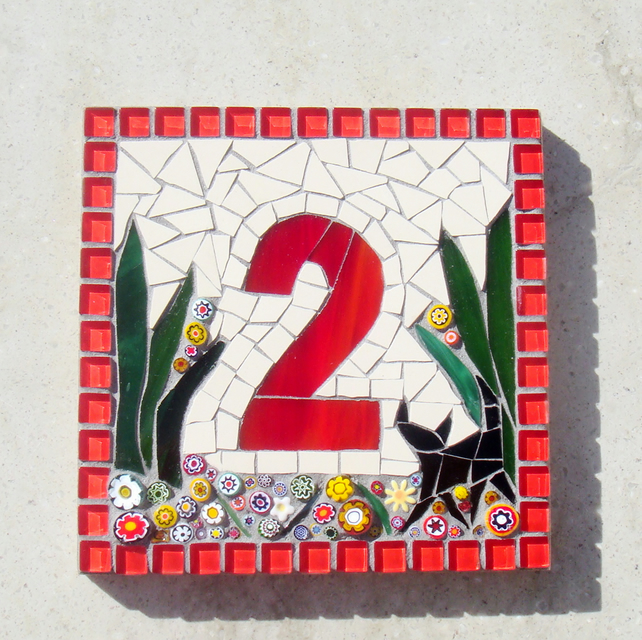 Cat Mosaic House Number