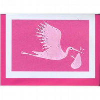 New Baby Stork, on pink
