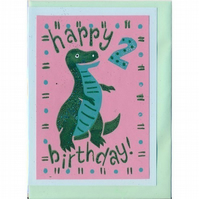 Happy 2nd Birthday dinosaur