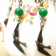 Earrings, pretty swooping bird . Boho,prom,wedding,party,evening