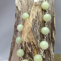 Semi- precious Jade and sterling silver bracelet.