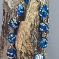 Beach inspired blue glass and silver Bracelet. Surf, summer, holiday