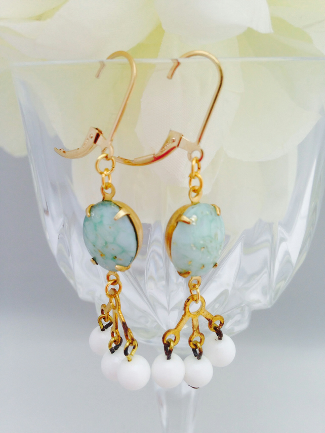 Vintage glass earrings with gold filled earwires. Boho,prom,wedding,glamour