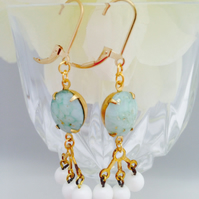 Free UK P&P. Vintage glass earrings with gold filled earwires. Gift for her.