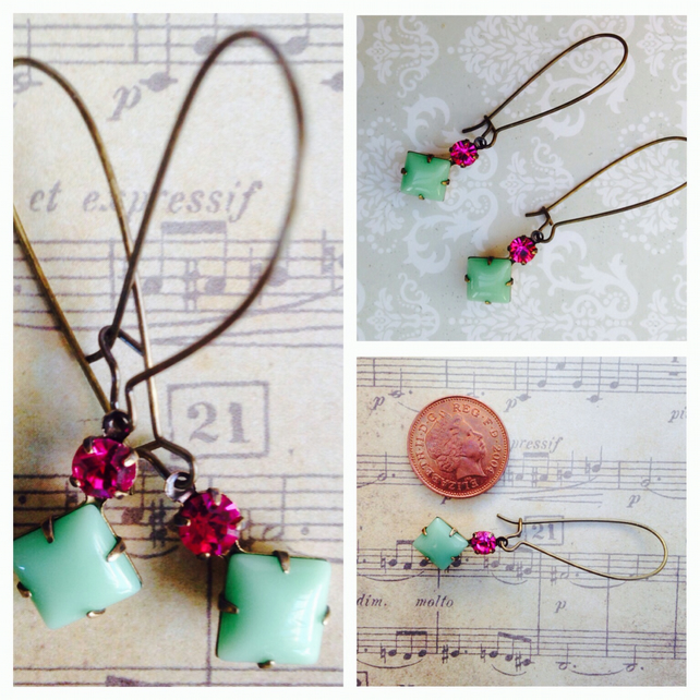 Vintage jade green and fuchsia glass earrings.