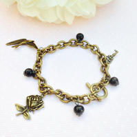 Free UK P&P. Vintage  style charm bracelet with vintage beads.Gift for her.