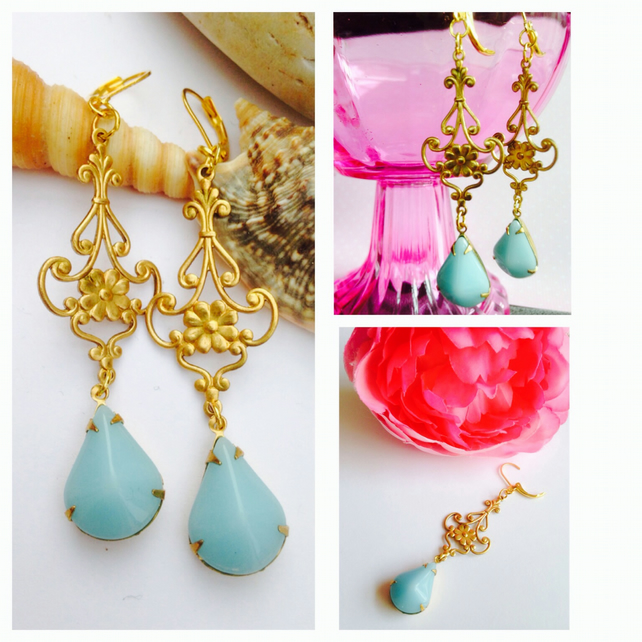 Free UK P&P. Vintage baby blue glass  and brass filigree earrings.Gift for her.