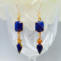 Vintage glass blue and gold earrings with gold filled ear wires. Glamour,evening