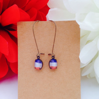 Vintage glass Red, white and blue earrings.