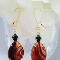Vintage glass earrings with gold filled ear wires.Gift for her. Free UK P&P