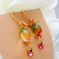 SALE Vintage multicolour glass Earrings. Gift for her.
