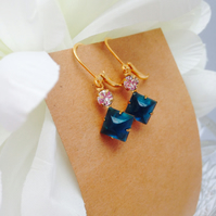 Vintage gorgeous ocean blue glass earrings. Gift for her.