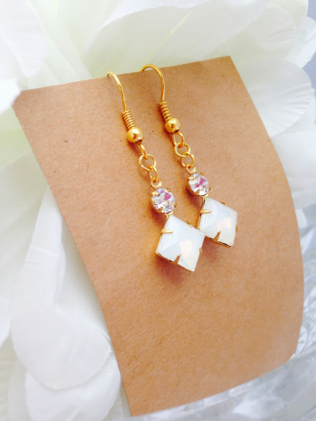 Square white opal glass earrings with swarvoski crystals & antique brass
