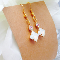 Square white opal earrings with swarvoski crystals & antique brass