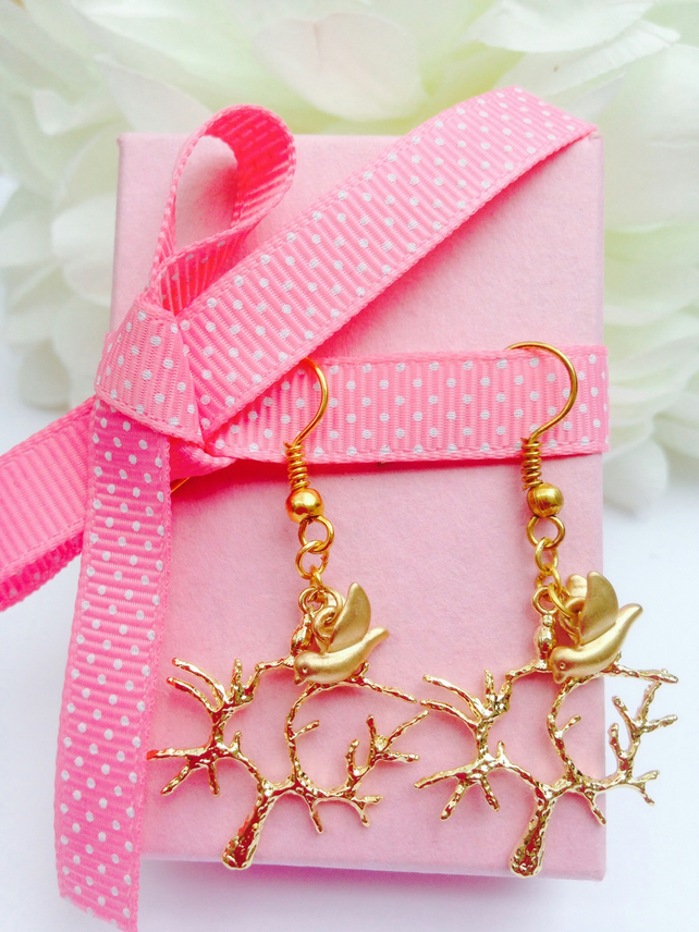 Tree and dove earrings