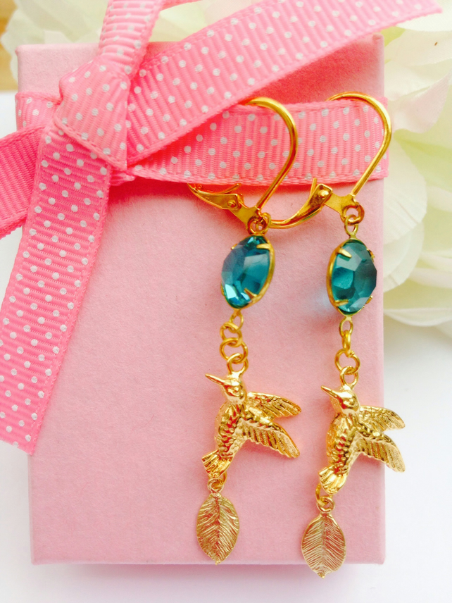 Gold bird, leaf and blue vintage glass earrings