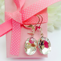 Vintage rhinestone glass earrings.Gift for her.