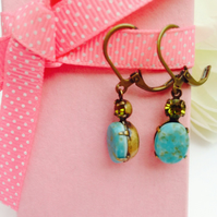 Vintage glass earrings, ocean blue and crystal