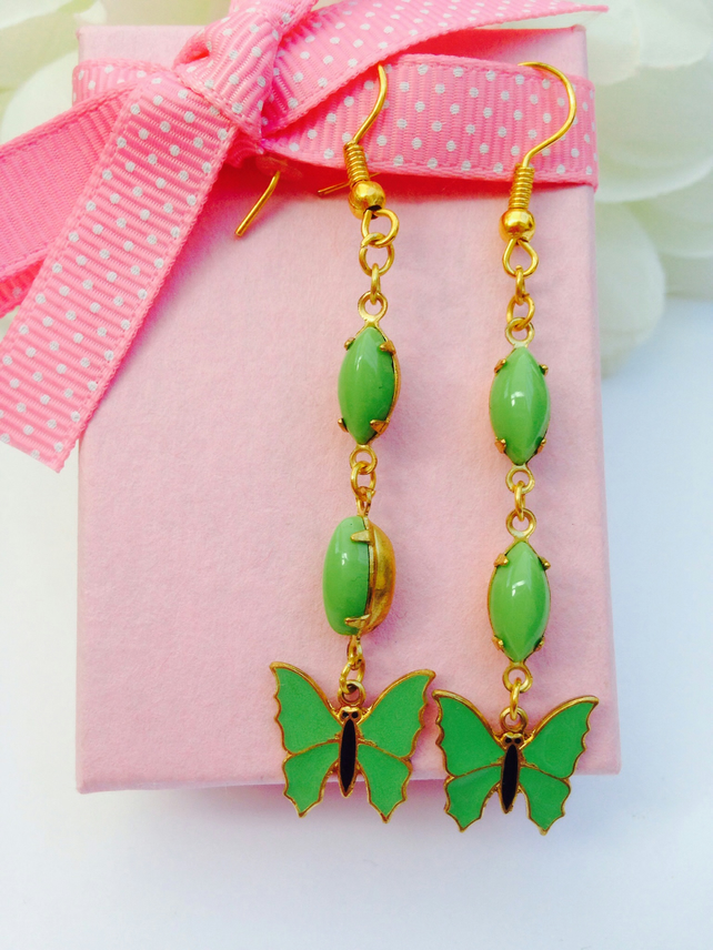 Pretty vintage pea green glass and butterfly earrings. Evening, gift for her