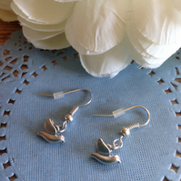 Cute rhodium dove earrings