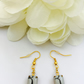 Grey and black vintage glass earrings