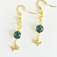 Blue glass gem bird earrings.Boho,prom,wedding,party,festival,glamour,evening