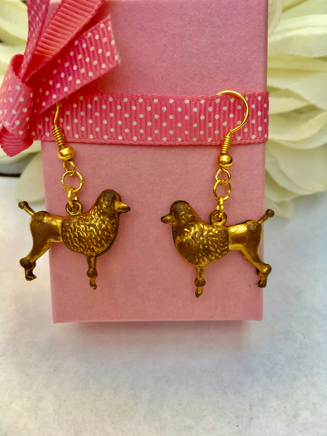 Vintage brass poodle earrings