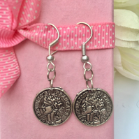 Vintage style coin earrings