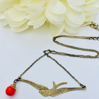 Bird necklace with red vintage bead. Boho,evening,gift for her