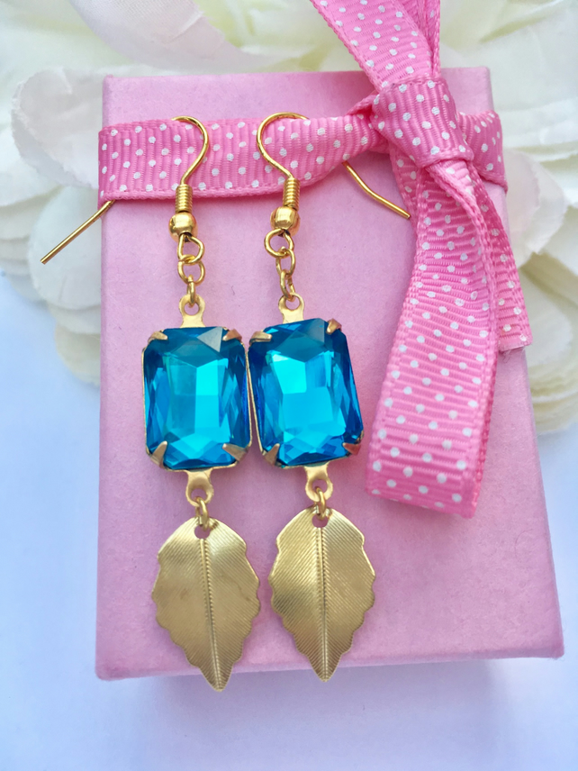 Vintage aqua glass earrings . Boho,prom,wedding,party,evening,glamour