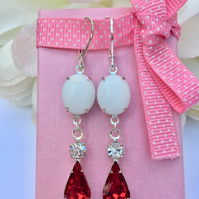 Red Rhinestone teardrop earrings with vintage white glass . Boho,prom,glamour