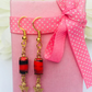 Red and black vintage glass stone earrings with brass triangle dangles