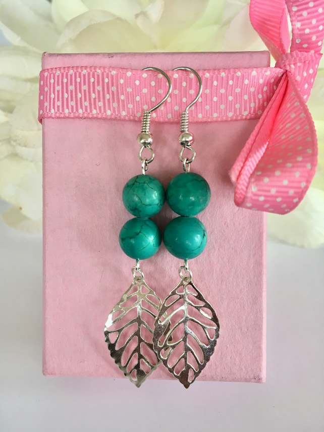Turquoise semiprecious stone earrings