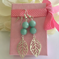 Pastel green semi precious amazonite stone earrings