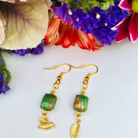 Vintage green and gold earrings, boho,prom,wedding,party,evening,gift for her