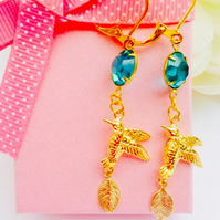 Gold bird, leaf and blue vintage glass earrings. Boho,prom,wedding,party,glamour