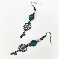 Key earrings with sea green glass beads and tiny pearls