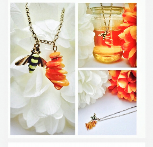Bumble bee and amber coloured shell bead honeycomb necklace