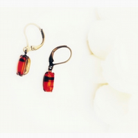 Small cherry red and black striped vintage glass stone earrings set in brass