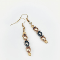 Gold and brown swarovski pearl bead earrings
