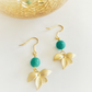 Gold dangle flower and turquoise marbled glass bead earrings